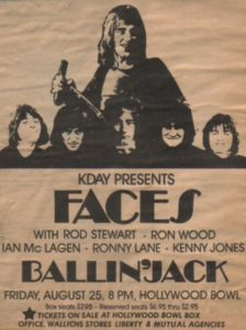 The Faces - advert for Hollywood Bowl show